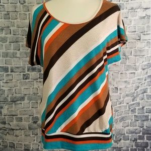 Agenda Striped Drop Sleeve Paneled Waist Blouse M